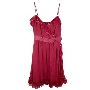 Betsey Johnson Evening Dress Red Silk Sequin Bow 6